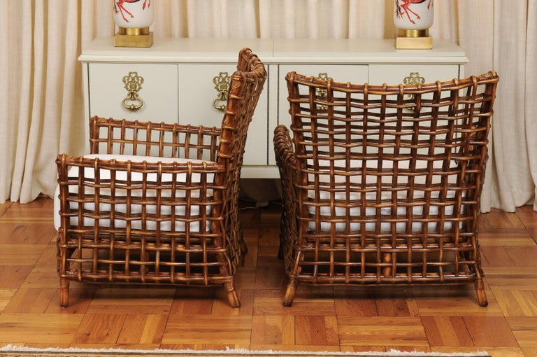 Fabulous Pair of Caramel Rattan and Cane Club Chairs by McGuire, circa 1980 For Sale 8