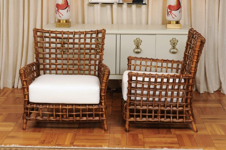 Fabulous Pair of Caramel Rattan and Cane Club Chairs by McGuire, circa 1980 For Sale 9