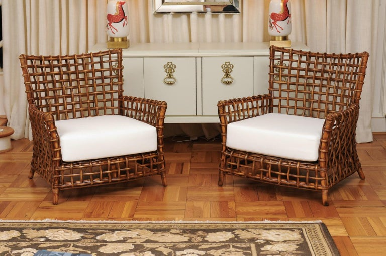Fabulous Pair of Caramel Rattan and Cane Club Chairs by McGuire, circa 1980 For Sale 10
