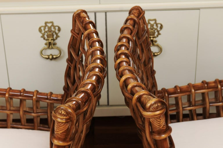 Fabulous Pair of Caramel Rattan and Cane Club Chairs by McGuire, circa 1980 For Sale 11
