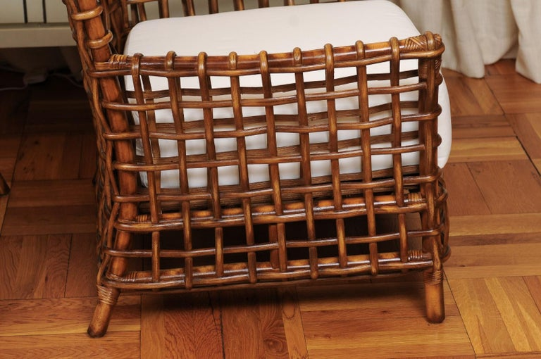 Fabulous Pair of Caramel Rattan and Cane Club Chairs by McGuire, circa 1980 For Sale 12