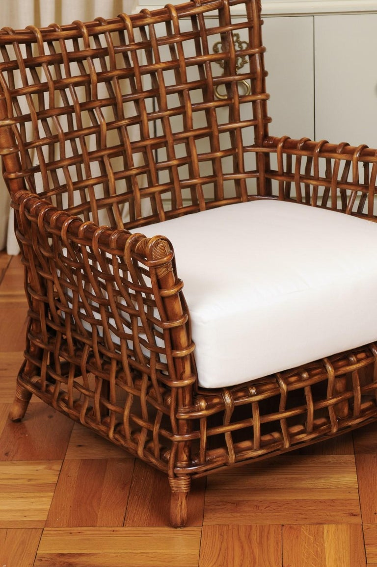 Organic Modern Fabulous Pair of Caramel Rattan and Cane Club Chairs by McGuire, circa 1980 For Sale
