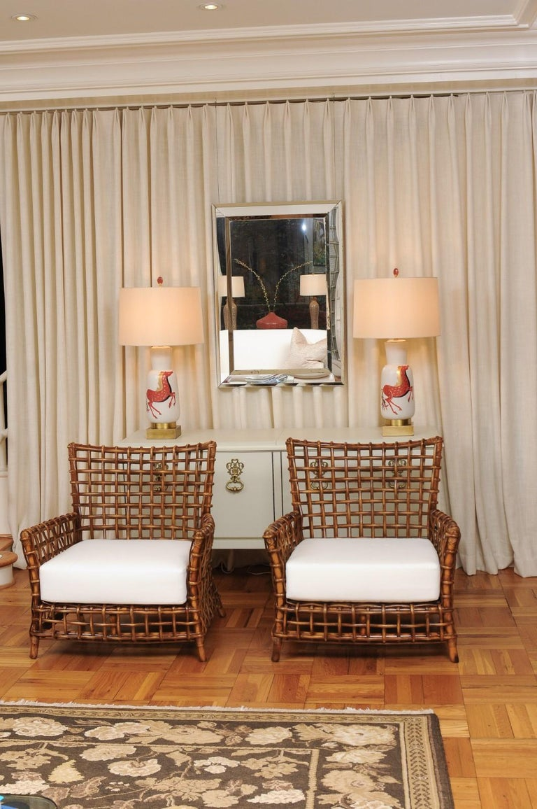 Fabulous Pair of Caramel Rattan and Cane Club Chairs by McGuire, circa 1980 In Excellent Condition For Sale In Atlanta, GA
