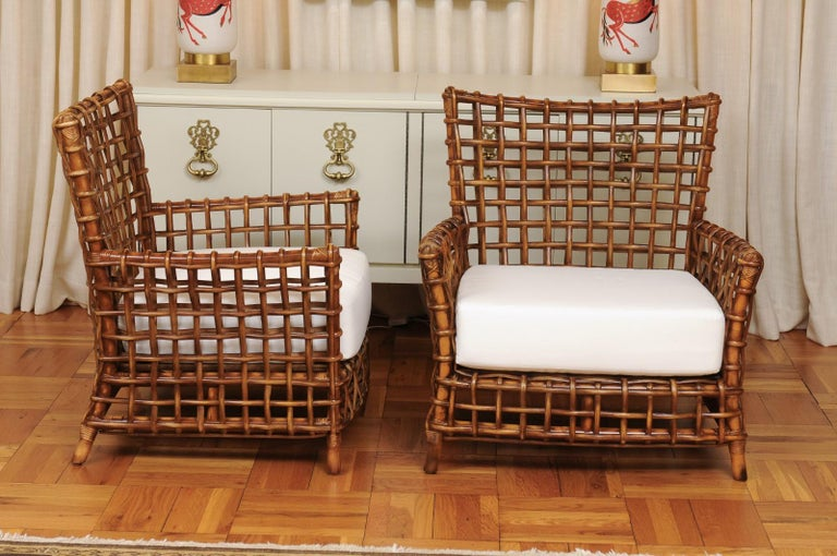Fabulous Pair of Caramel Rattan and Cane Club Chairs by McGuire, circa 1980 For Sale 1