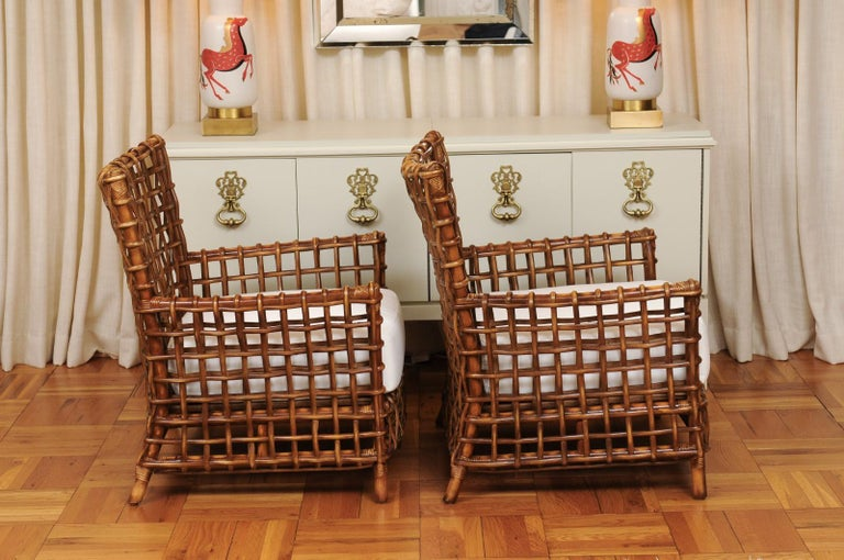 Fabulous Pair of Caramel Rattan and Cane Club Chairs by McGuire, circa 1980 For Sale 2