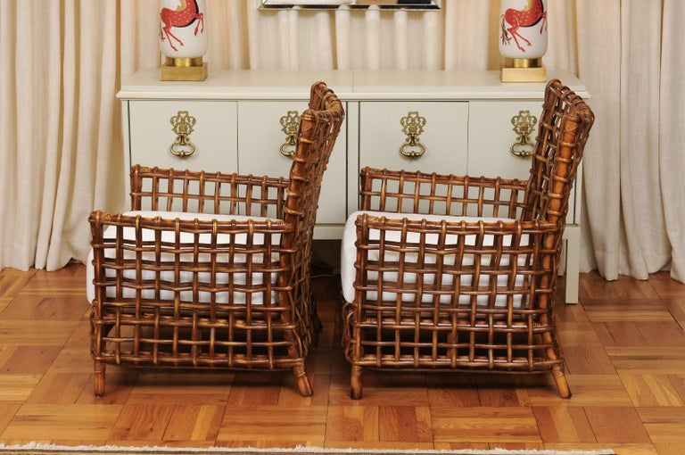 Fabulous Pair of Caramel Rattan and Cane Club Chairs by McGuire, circa 1980 For Sale 3