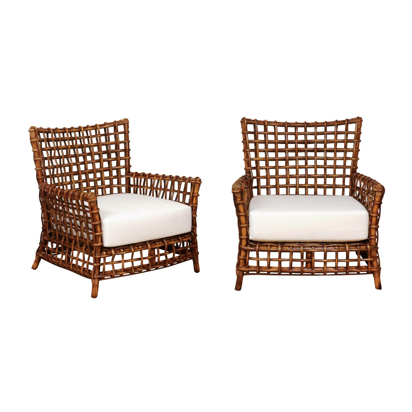 Fabulous Pair of Caramel Rattan and Cane Club Chairs by McGuire, circa 1980