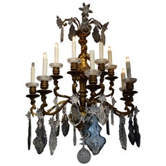 Fabulous Pair of Gilt Bronze and Crystal Wall Sconces