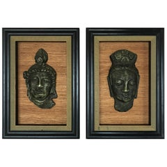 Fabulous Pair of Hollywood Regency Framed 3D Buddhas with Greek Key Border