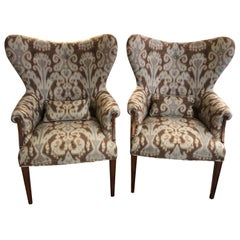 Fabulous Pair of Ikat Upholstered Wing Chairs