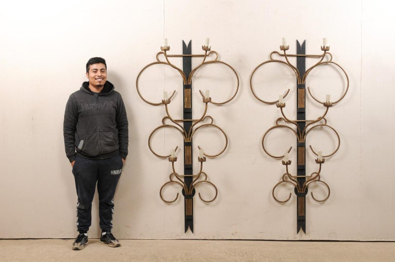 A Fabulous Pair of French Art Deco Style 6 Ft Tall Wall Sconces, Mid-20th C. For Sale 5