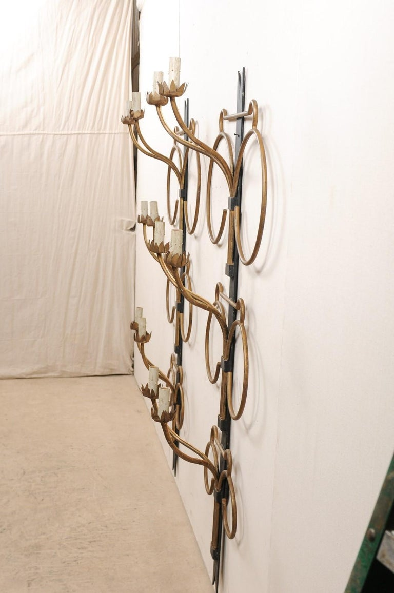 A Fabulous Pair of French Art Deco Style 6 Ft Tall Wall Sconces, Mid-20th C. For Sale 1