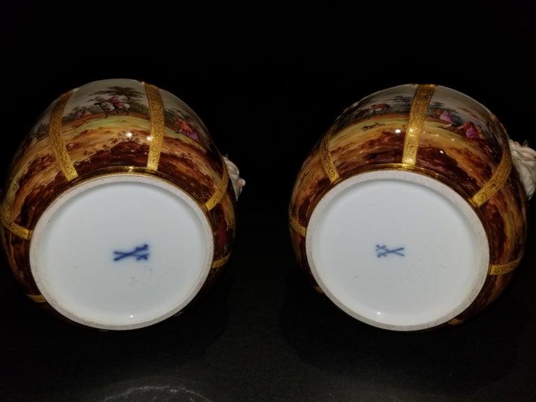 Fabulous Pair of Meissen Porcelain Glass Coolers/Cachepots For Sale 6
