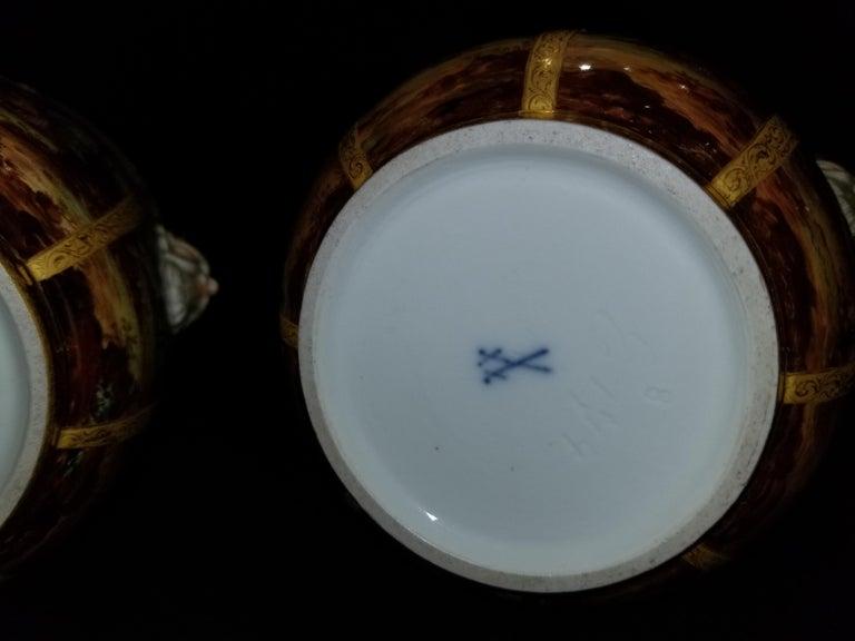 Fabulous Pair of Meissen Porcelain Glass Coolers/Cachepots For Sale 8
