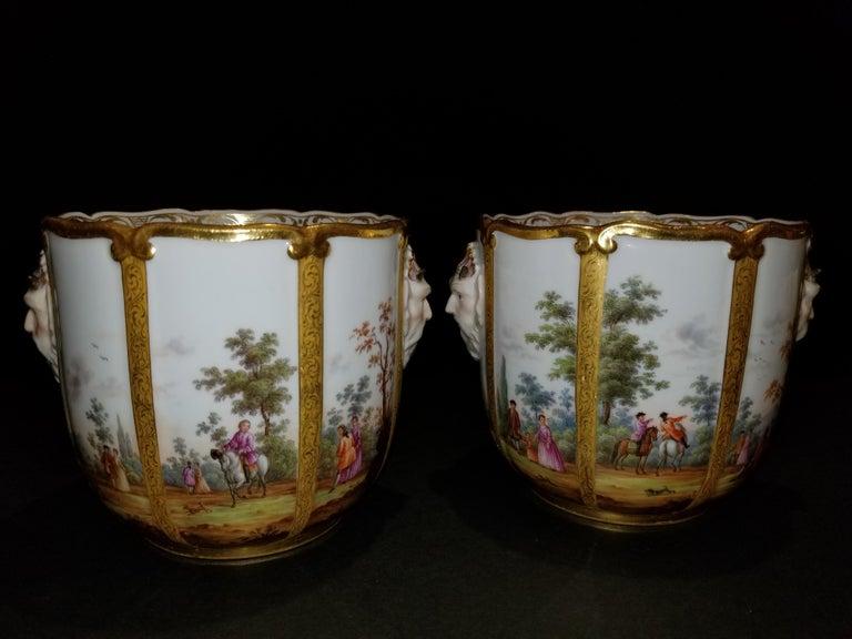 Louis XVI Fabulous Pair of Meissen Porcelain Glass Coolers/Cachepots For Sale