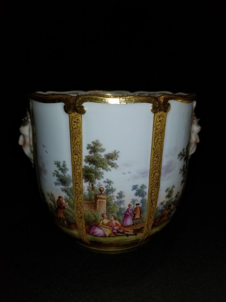 German Fabulous Pair of Meissen Porcelain Glass Coolers/Cachepots For Sale
