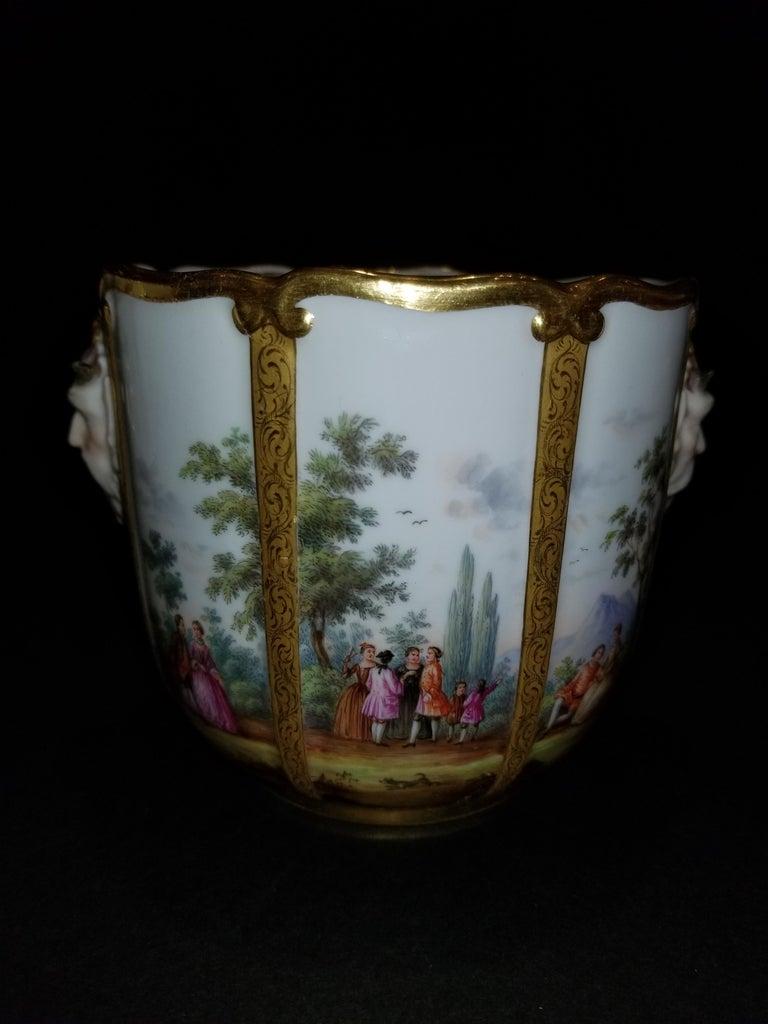 Gilt Fabulous Pair of Meissen Porcelain Glass Coolers/Cachepots For Sale