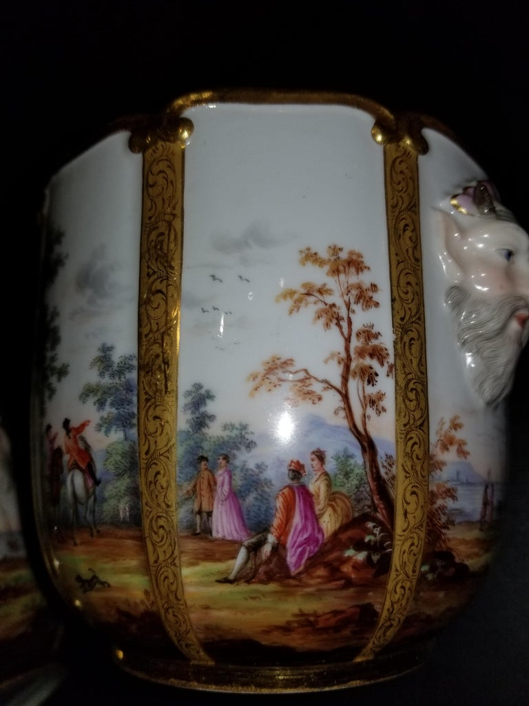 Fabulous Pair of Meissen Porcelain Glass Coolers/Cachepots In Excellent Condition For Sale In New York, NY