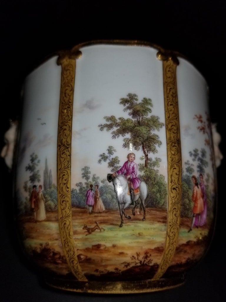 19th Century Fabulous Pair of Meissen Porcelain Glass Coolers/Cachepots For Sale