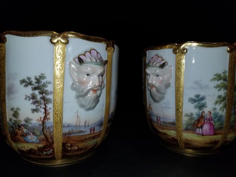Fabulous Pair of Meissen Porcelain Glass Coolers/Cachepots For Sale 2