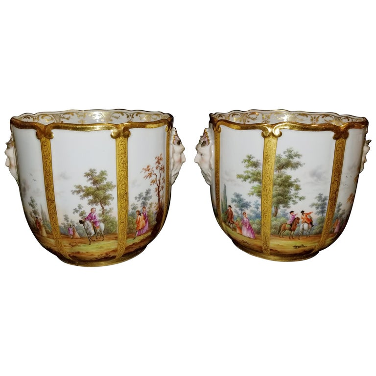 Fabulous Pair of Meissen Porcelain Glass Coolers/Cachepots For Sale