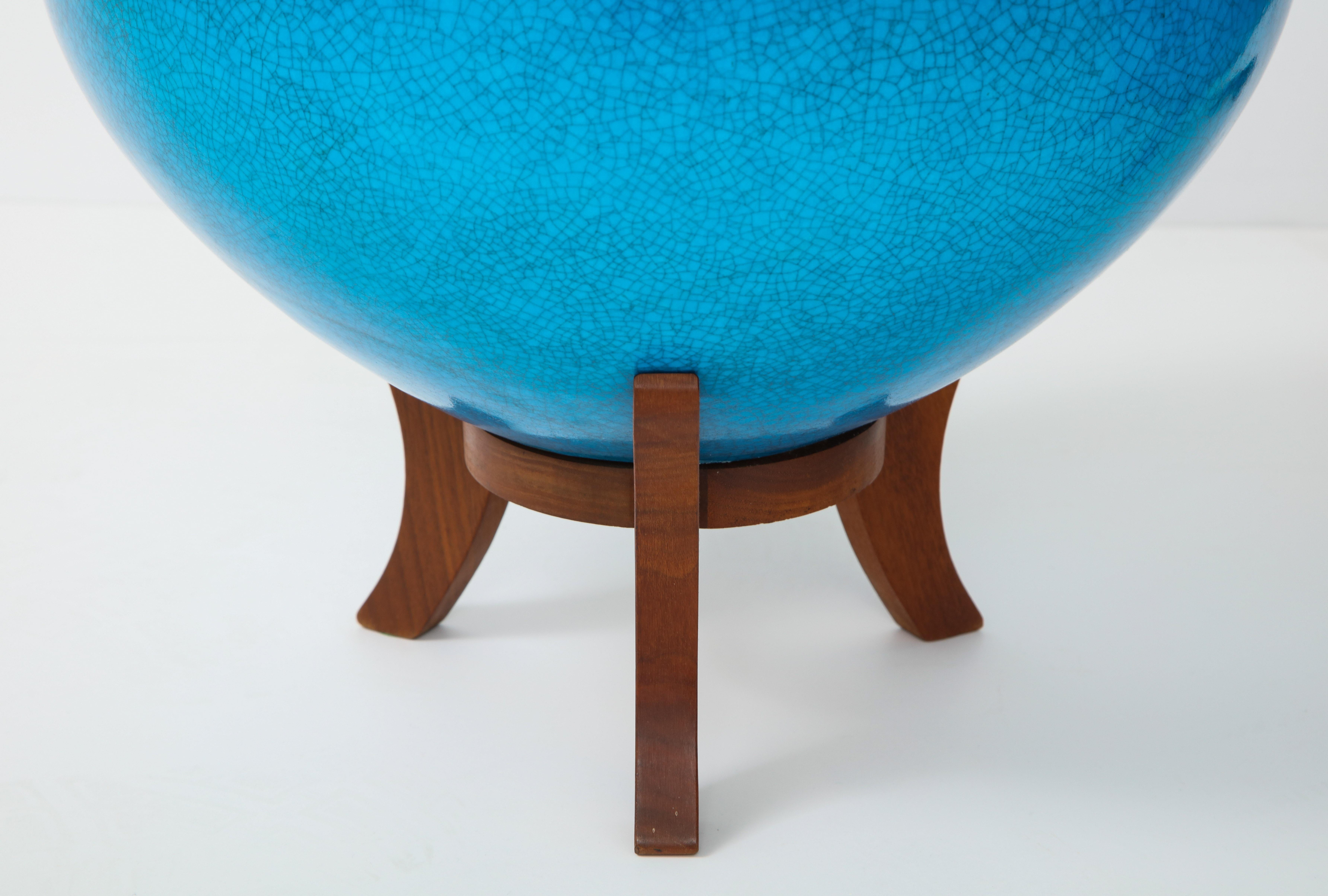 Enjoyable Fabulous Pair Of Mid Century Lamps With A Cerulean Blue Glazed Finish Gmtry Best Dining Table And Chair Ideas Images Gmtryco
