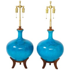 Fabulous Pair of Mid-Century Lamps with a Cerulean Blue Glazed Finish