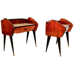 Fabulous Pair of Rosewood Nightstands Bronze Detail Bed Side Tables Ico Parisi