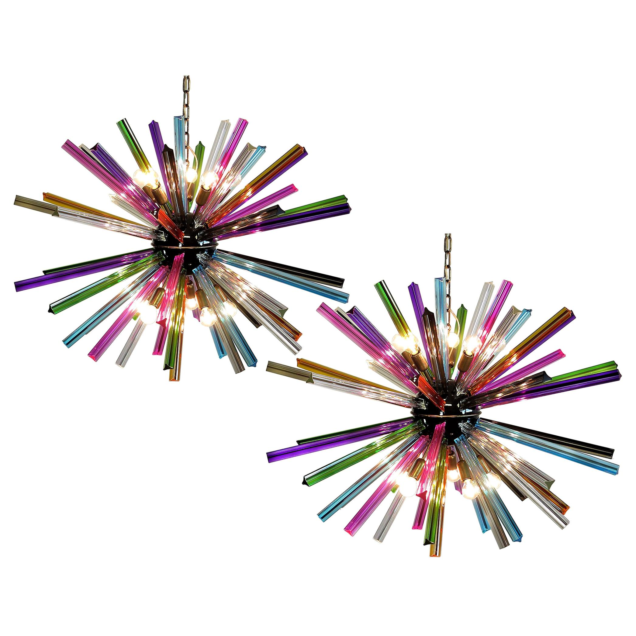 Fabulous Pair of Sputnik Chandelier Multicolored, Murano