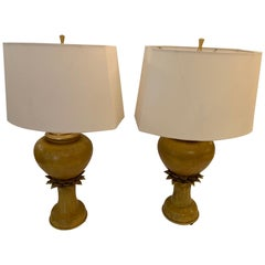 Fabulous Pair of Vintage Ochre Jar Shaped Ceramic Table Lamps