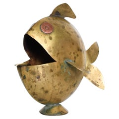 Fabulous Puffer Fish Ashtray Solid Brass and Copper Eyes 1970s Mexican Modernism