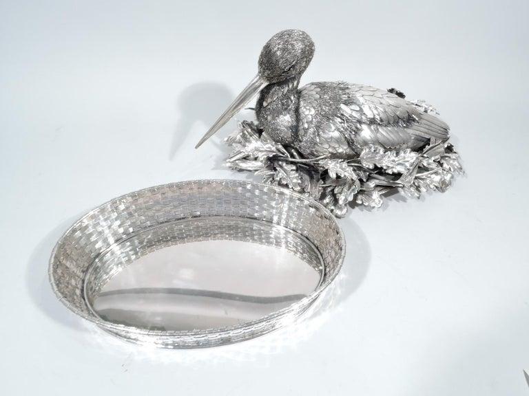 Italian Fabulous Quality Mario Buccellati Silver Nesting Bird Figure in Basket For Sale