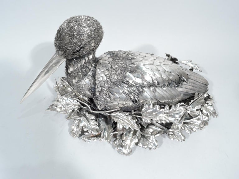 Fabulous Quality Mario Buccellati Silver Nesting Bird Figure in Basket In Excellent Condition For Sale In New York, NY