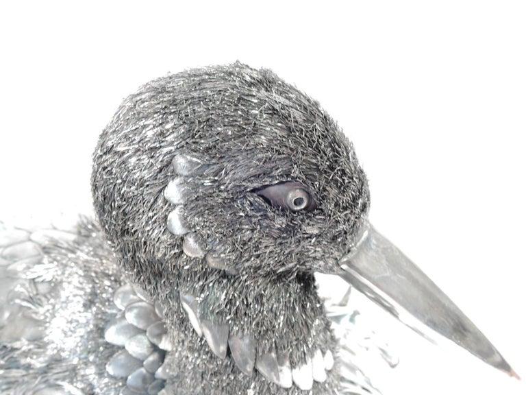 20th Century Fabulous Quality Mario Buccellati Silver Nesting Bird Figure in Basket For Sale