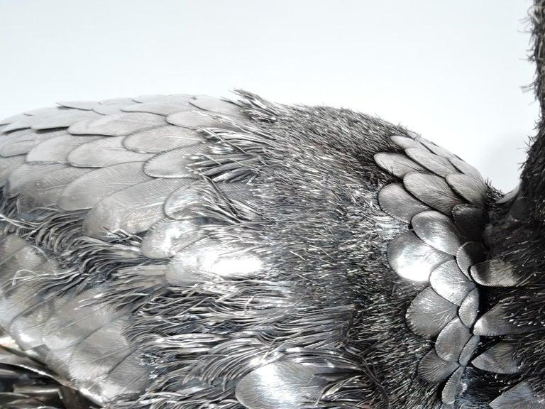 Fabulous Quality Mario Buccellati Silver Nesting Bird Figure in Basket For Sale 1