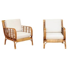 Fabulous Restored Pair of Birdcage Style Rattan and Cane Loungers, circa 1955