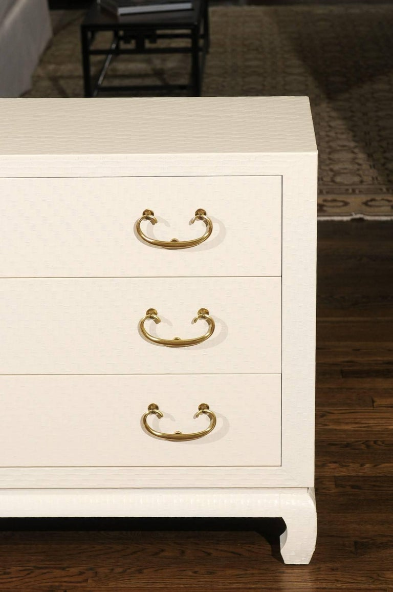 American Fabulous Restored Pair of Cream Raffia Chests by Baker, circa 1975 For Sale