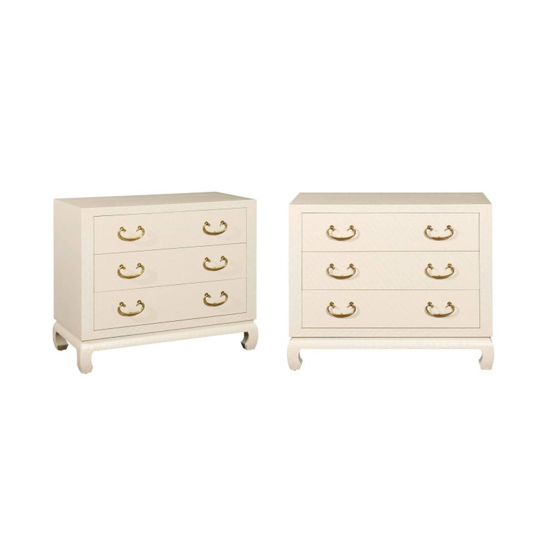 Fabulous Restored Pair of Cream Raffia Chests by Baker, circa 1975