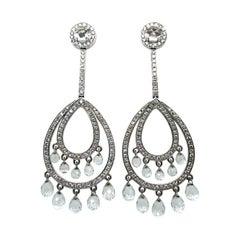 Fabulous Rock Crystal and Diamond Pendant Earrings in 18 Karat White Gold