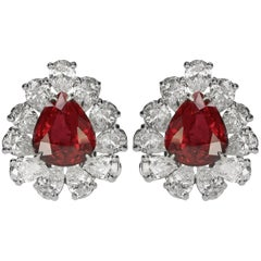 Fabulous Ruby and Diamond Earrings in Platinum