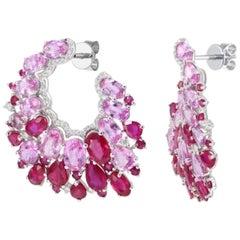 Fabulous Ruby Pink Sapphire White Gold Diamond Dangle Stud Earrings for Her