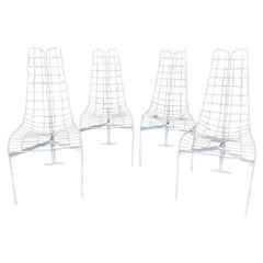 """Fabulous Set of 4 White Painted Steal """"Capricorn"""" Chairs by Vladimir Kagan"""