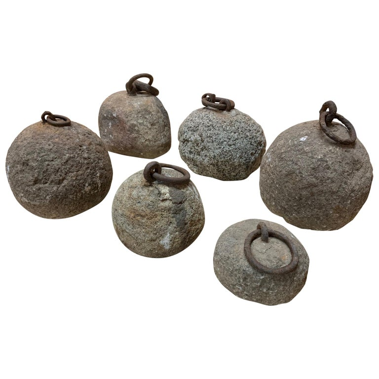 Fabulous Set of 6 17th Century Bell Tower Clock Counterweights For Sale