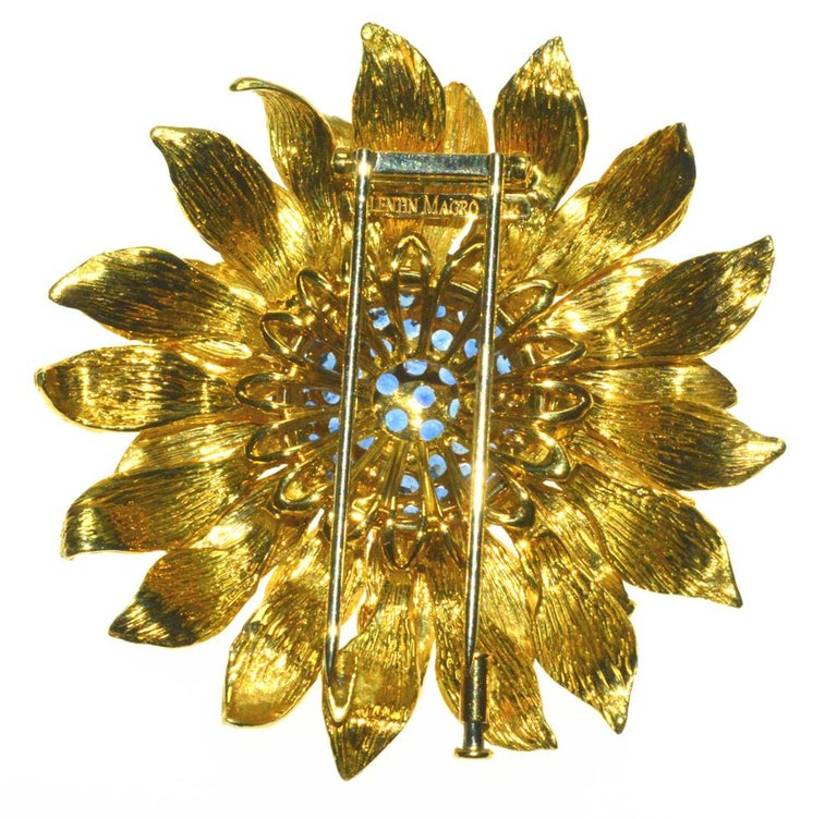 Women's Fabulous Statement Sapphire Sunflower Brooch by Valentin Magro For Sale
