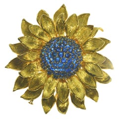 Fabulous Statement Sapphire Sunflower Brooch by Valentin Magro
