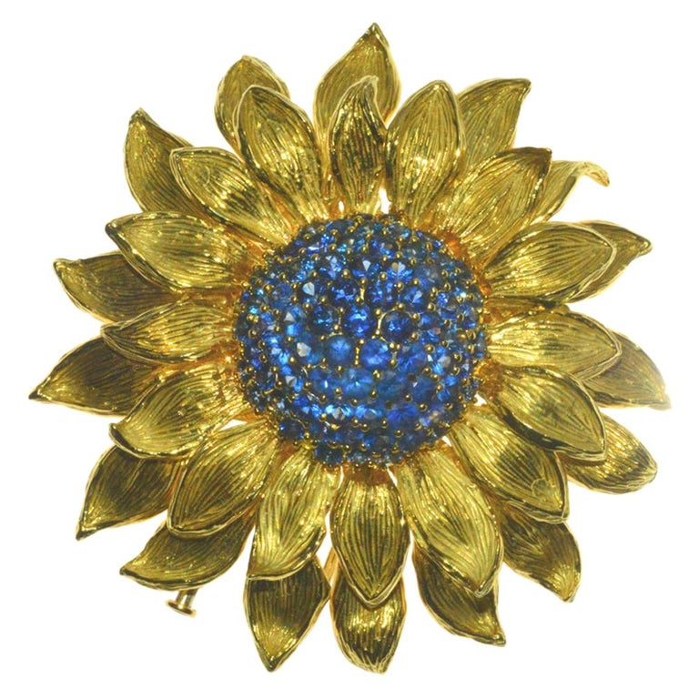 Fabulous Statement Sapphire Sunflower Brooch by Valentin Magro For Sale