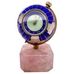 Fabulous Sterling, Enamel Quartz Miniature Map Clock