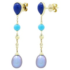 Fabulous Turquoise Lapis Lazuli Mother of Pearl Gold Diamond Earrings for Her