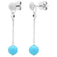 Fabulous Turquoise White Gold Diamond Dangle Earrings for Her