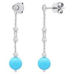 Fabulous Turquoise White Gold Diamond Earrings for Her
